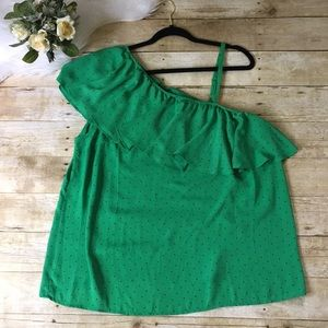 Torrid Green Polka Dot One Shoulder Top Size 1X
